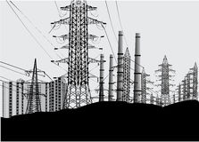 Industrial landscape with electric towers Stock Images