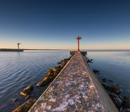 Industrial landscape with entrance to harbour in Jastarnia Royalty Free Stock Image