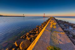 Industrial landscape with entrance to harbour in Jastarnia Royalty Free Stock Photos