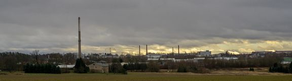 Industrial landscape with industrie park in the background royalty free stock photography
