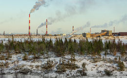 Industrial landscape. Industry in northern Russia Stock Photo