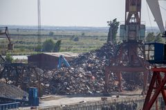 Industrial landscape, mountains of scrap metal Stock Image