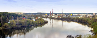 Industrial landscape near a river Royalty Free Stock Photos