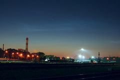 Industrial landscape night Royalty Free Stock Photos