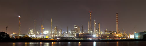 Industrial landscape by night Royalty Free Stock Photo