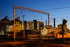 Industrial landscape is in night city Royalty Free Stock Photography