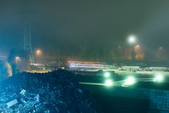 Industrial Landscape During Night With Fog Royalty Free Stock Image