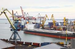 Industrial landscape of Odesa seaport, Ukraine Stock Photos