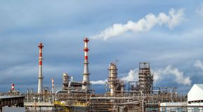 Oil refinery panorama stock image