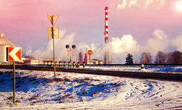 Industrial landscape. From pipe factory smoke, polluting the atmosphere Royalty Free Stock Images