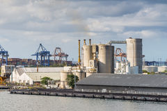 Industrial landscape of Port Louis sea port, Mauritius Stock Photo