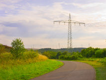 Industrial landscape, power lines Royalty Free Stock Photo