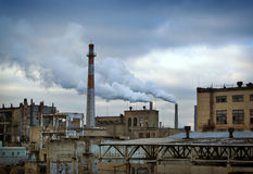 Industrial landscape with power plant Royalty Free Stock Photo