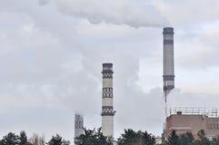 Industrial Landscape - Smokestacks Emitting Smoke Stock Images
