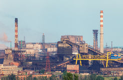Industrial landscape. Steel factory. Heavy industry in Europe. Industrial landscape. Steel factory with pipes at sunset. Metallurgical plant. steelworks, iron Royalty Free Stock Photo