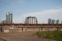 Industrial landscape. At sunset in Kazan royalty free stock photography