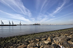 Industrial landscape. Industrial waterfront with cargo docks Stock Photography