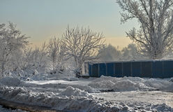 Industrial landscape in winter Royalty Free Stock Photography