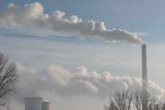 Industrial landscape in winter stock photography