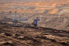 Industrial landscape of a working mine Royalty Free Stock Photography