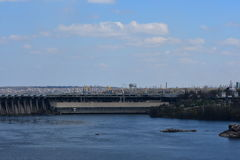 Industrial Landscape 1. Zaporozhye hydroelectric power station. Ukraine Stock Images
