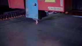 Industrial Laser Cutting Metal Sheet Throughly. High Quality Technology stock footage