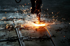Industrial Laser cutting metal Stock Photography