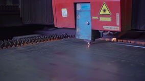 Industrial Laser Cutting Steel Material Throughly stock video footage
