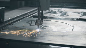 Industrial laser plasma cutting metal steel stock video