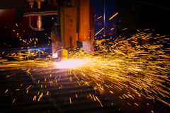 Industrial laser and plasma cutting of sheet steel Royalty Free Stock Images