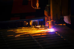 Industrial laser and plasma cutting of sheet steel Stock Images