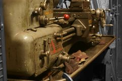 Industrial lathe in a factory workshop stock photo