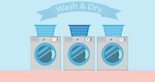 Industrial laundry machines, laundromat machine washer 2D cartoon animation in 4K. stock video