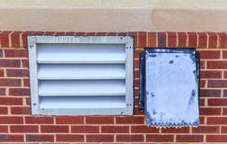 Industrial Laundry Room Dryer Vents. Industrial laundry room dryer vent on the back facade of a hotel in Montgomery, Alabama stock image
