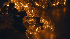 Industrial light bulbs. Retro lighting in loft style. Lighting decor. Royalty Free Stock Image