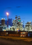 Industrial lights. Illuminated petrochemical plant in twilight (Antwerp port, Belgium Stock Photos