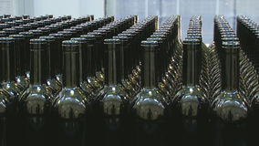 Industrial line for bottling wine stock video footage