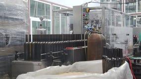 Industrial line for bottling wine stock footage