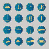 Industrial and logistic blue icons Stock Images