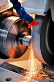 Industrial machine. This photo about machine industry, is called cylindrical grinding Royalty Free Stock Photography