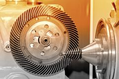 Industrial machine with a conical gear and a circular gear Stock Image