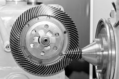 Industrial machine with a conical gear and a circular gear Royalty Free Stock Photo