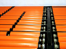 Industrial machine guide rollers Stock Photos