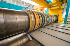 Industrial machine for steel coils cut Royalty Free Stock Photos