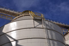 Industrial Machinery. Holding silos and equipment of a grain and agriculture facility in Raleigh, North Carolina Stock Photography