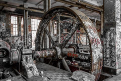 Industrial machinery in abandoned factory. Old industrial machinery in abandoned factory royalty free stock photos