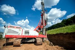 Industrial machinery for drilling holes in the ground Stock Photo