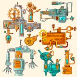 Industrial Machines Doodles Colored Stock Photo