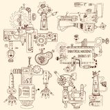 Industrial Machines Doodles Set Stock Photos