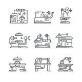 Industrial machines vector line icons. Factory machine tools symbols Stock Photo